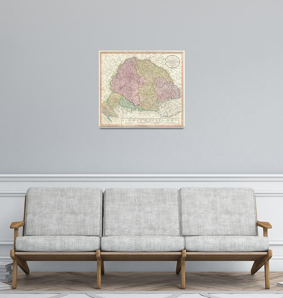 """""""Vintage Map of Hungary (1799)""""  by Alleycatshirts"""