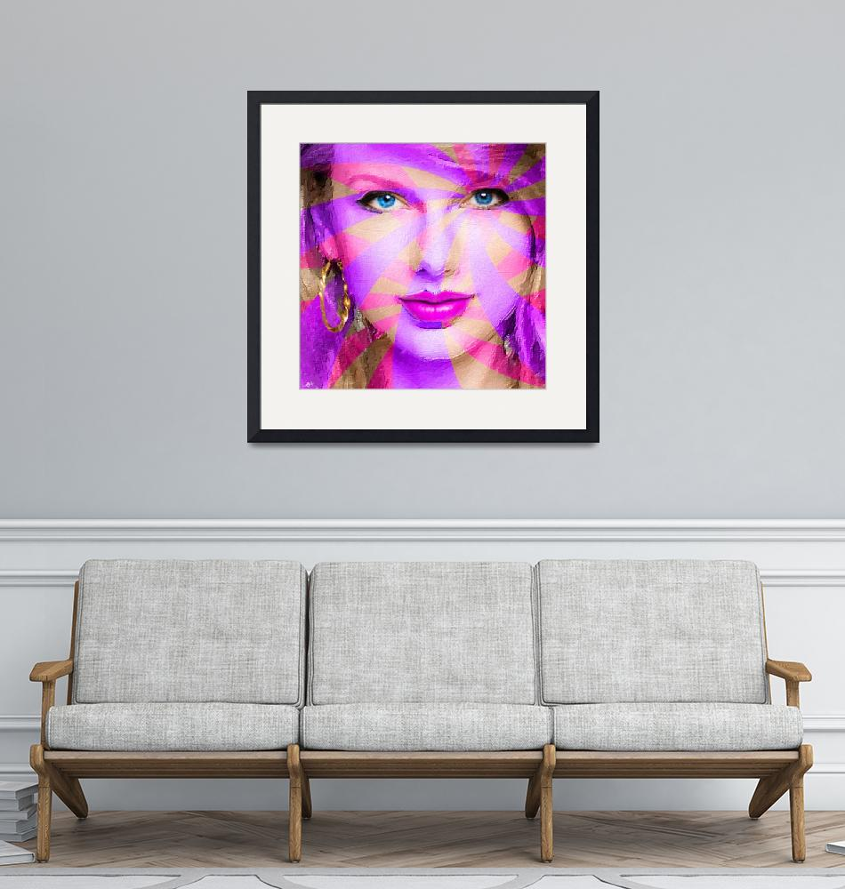 """Taylor Swift Pink Square""  (2015) by RubinoFineArt"