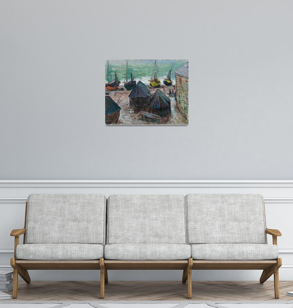 """""""Boats on the Beach at Étretat by Claude Monet""""  by FineArtClassics"""