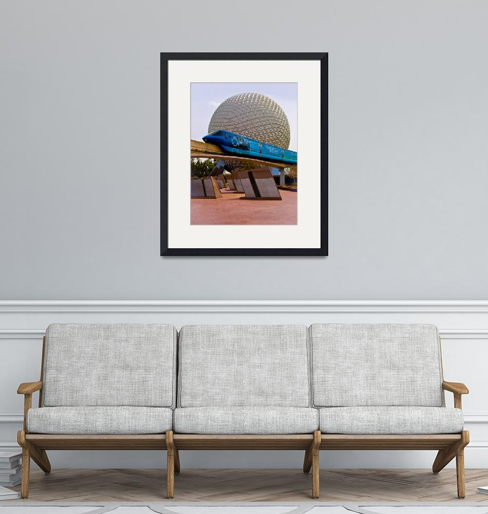 """""""Tronorail passing Spaceship Earth""""  by ahansendesign"""