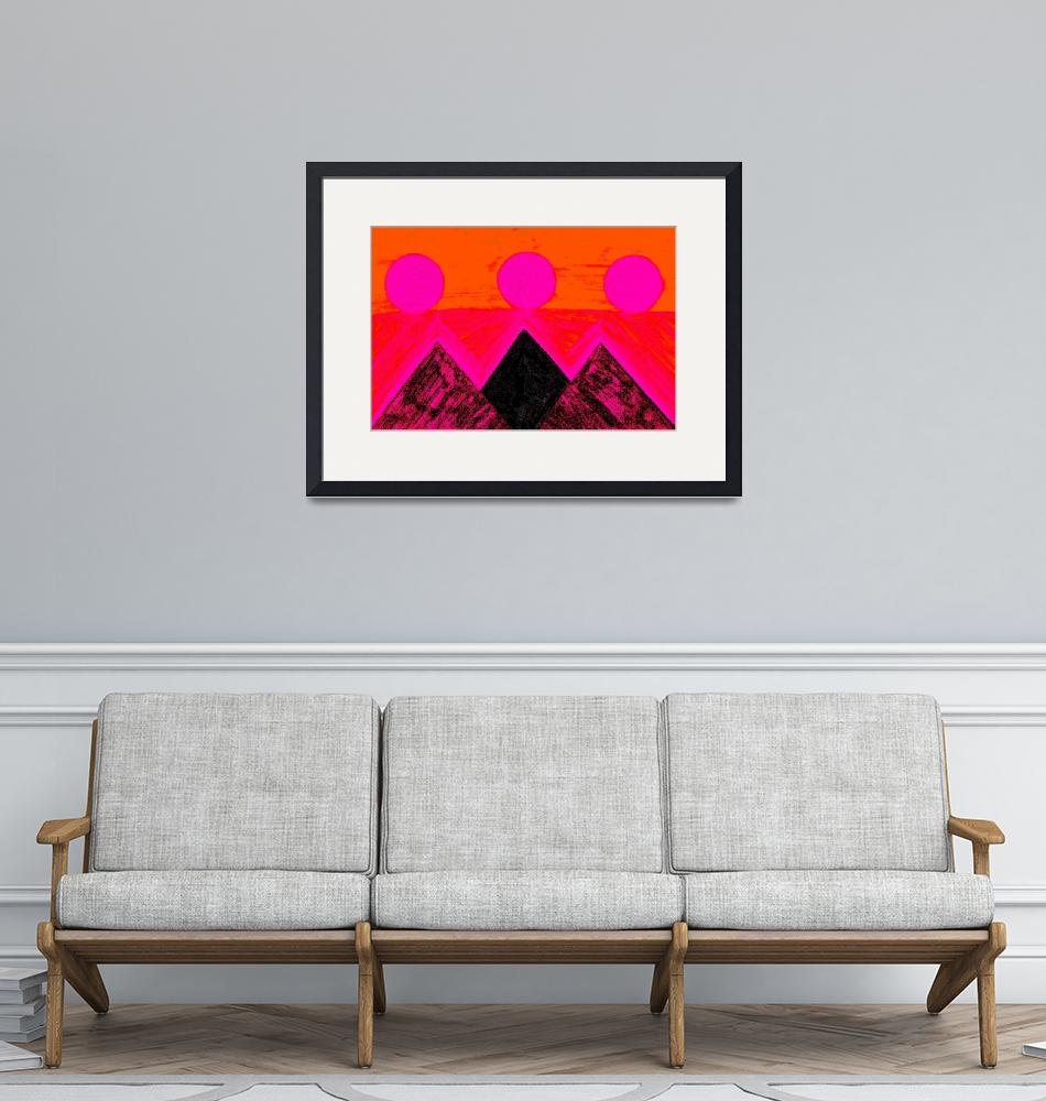 """""""Pyramids Of Other Worlds In Pink and Orange""""  by Atlantis-Seeker-Art"""