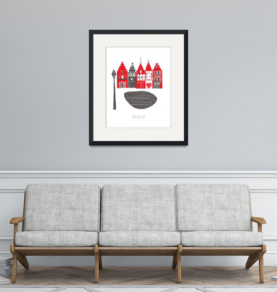 """""""Brugge Modern Cityscape Illustration""""  by AlbieDesigns"""