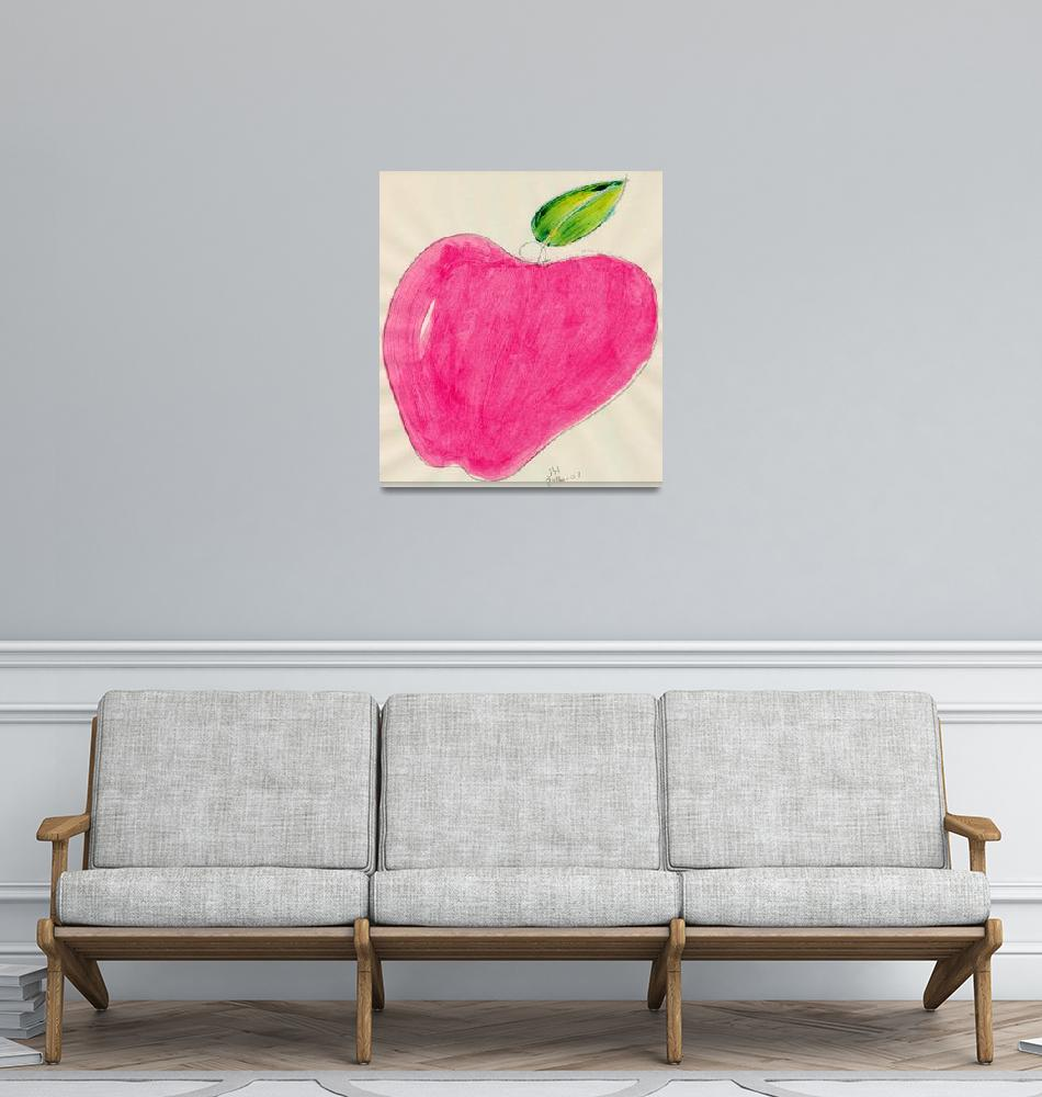 """""""RED APPLE SINGLE LINE DRAWING ONE""""  (2007) by JerryHanks"""