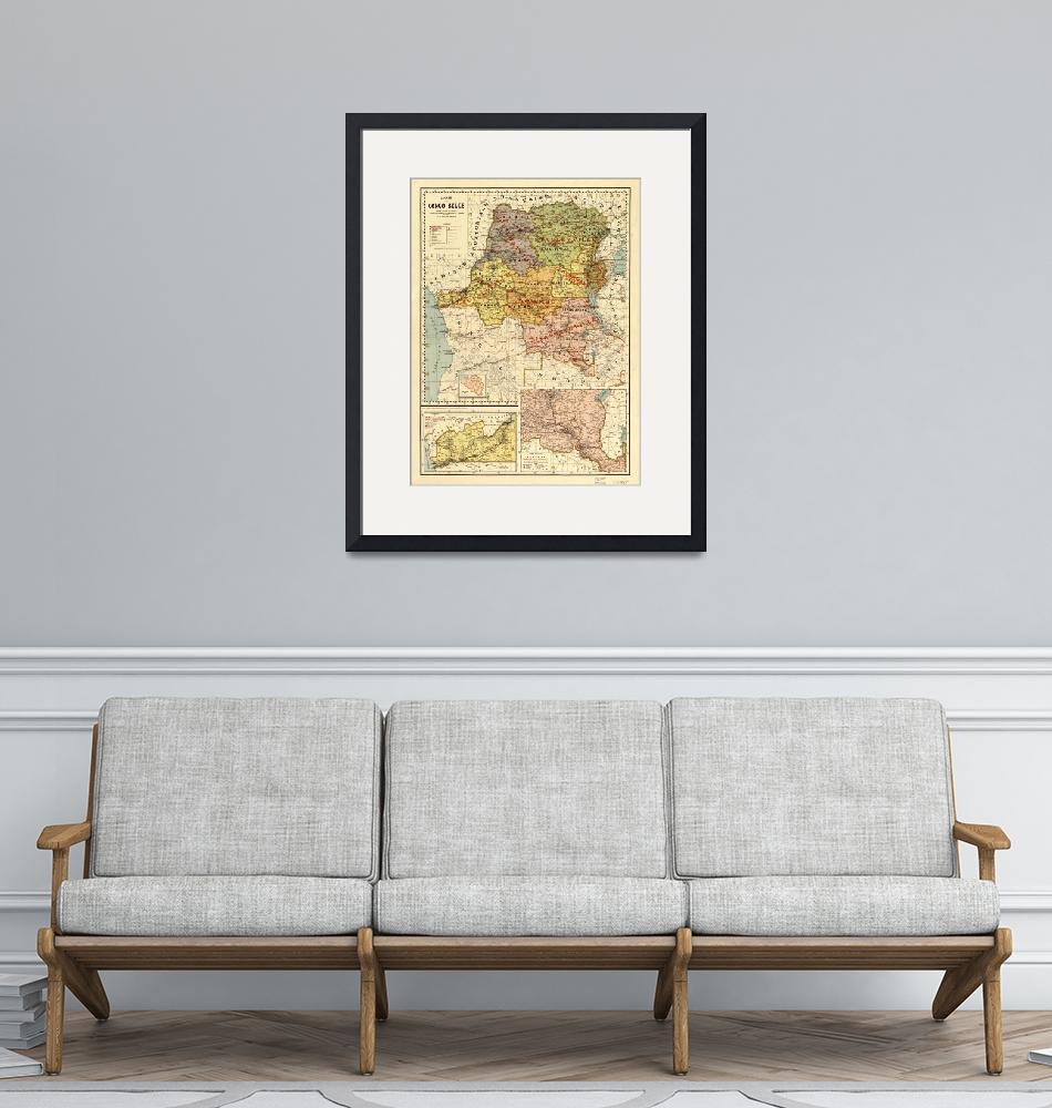 """""""Map of the Congo, Africa (1896)""""  by ArtHistory"""
