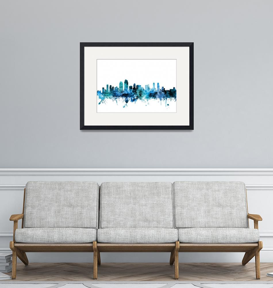 """San Diego California Skyline""  (2018) by ModernArtPrints"