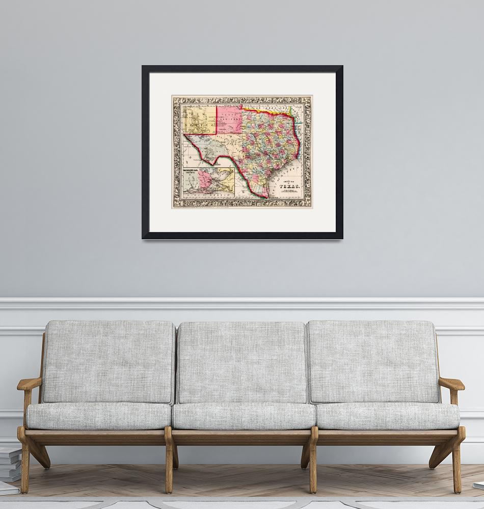 """""""Texas County map 1863""""  (2019) by WilshireImages"""