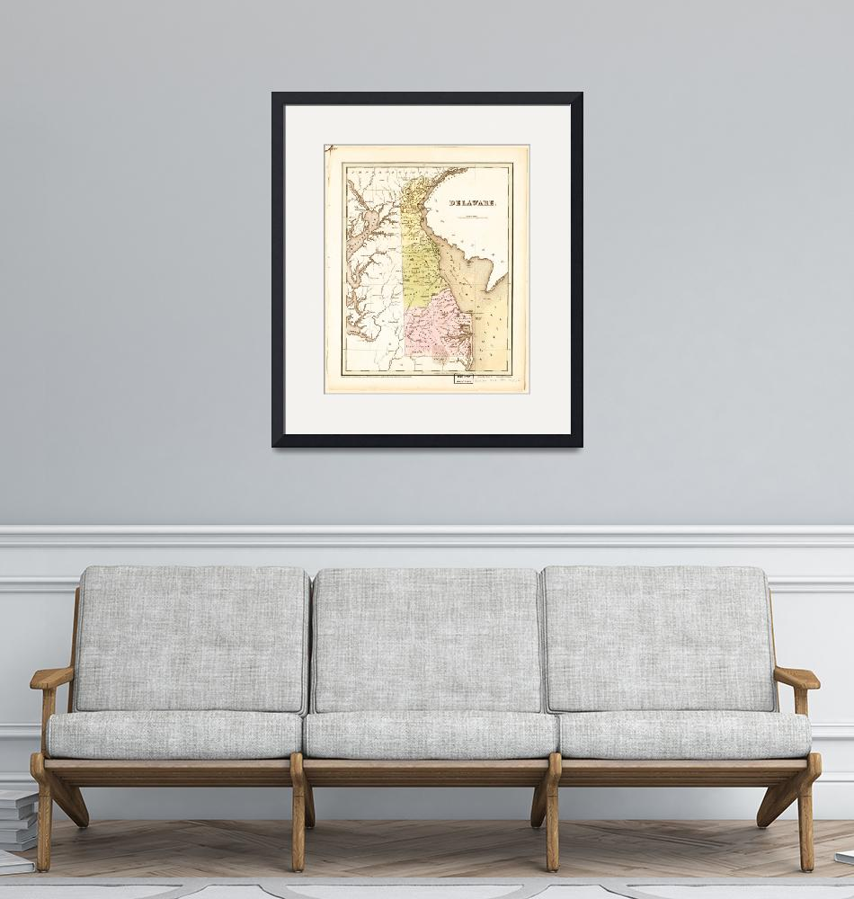"""""""Map of Delaware (1838)""""  by ArtHistory"""