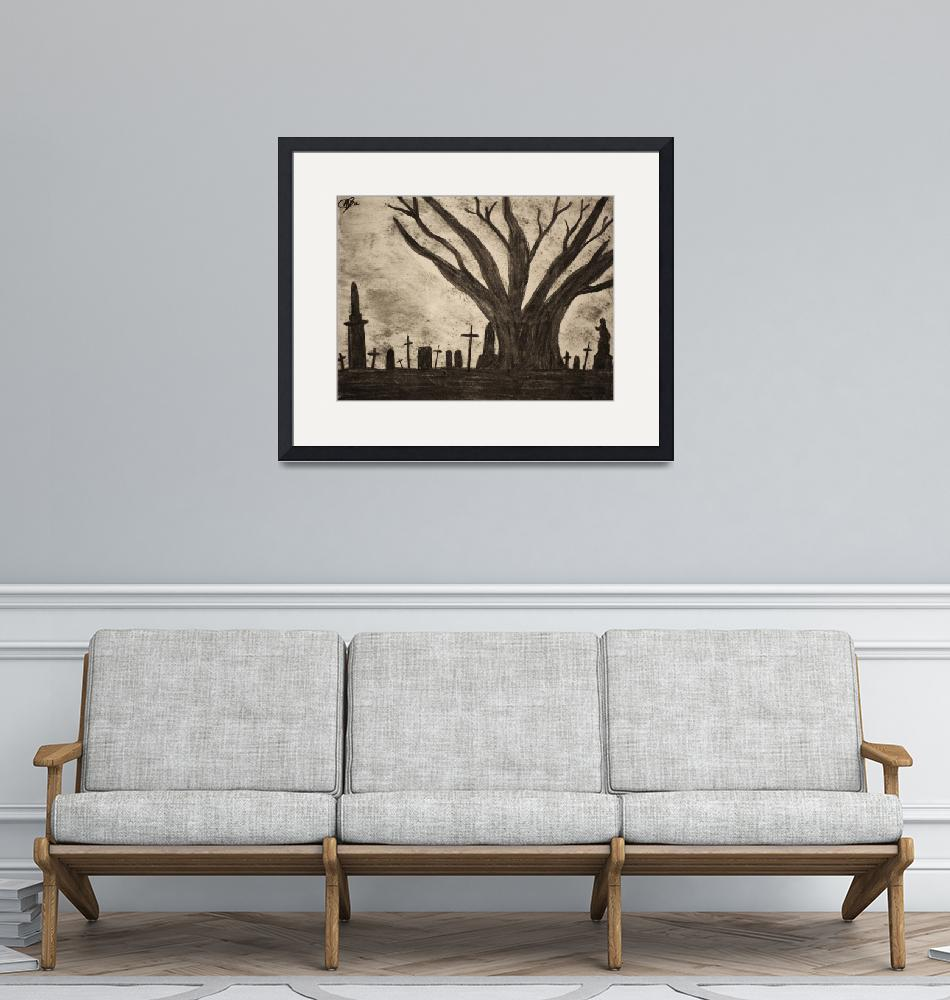 """""""Graveyard by gothic old tree""""  (2012) by MikeMBurkeDesigns"""