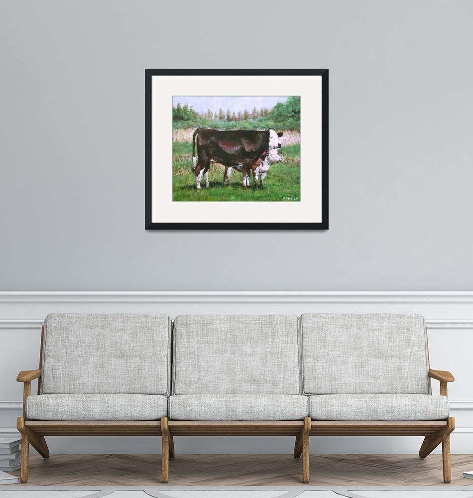 """cows in field_demo small painting""  (2012) by martindavey"