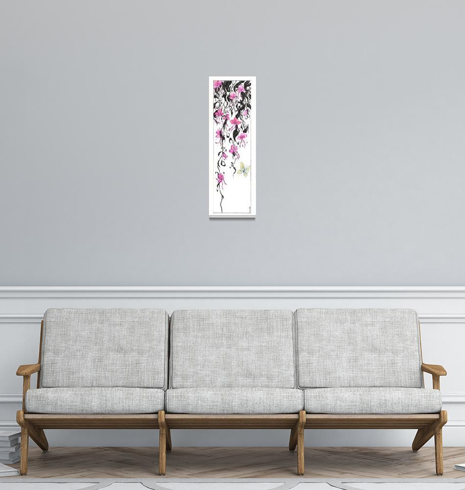 """Orchid Mantis (org. 10""x30"")""  (2010) by KenRileyArt"