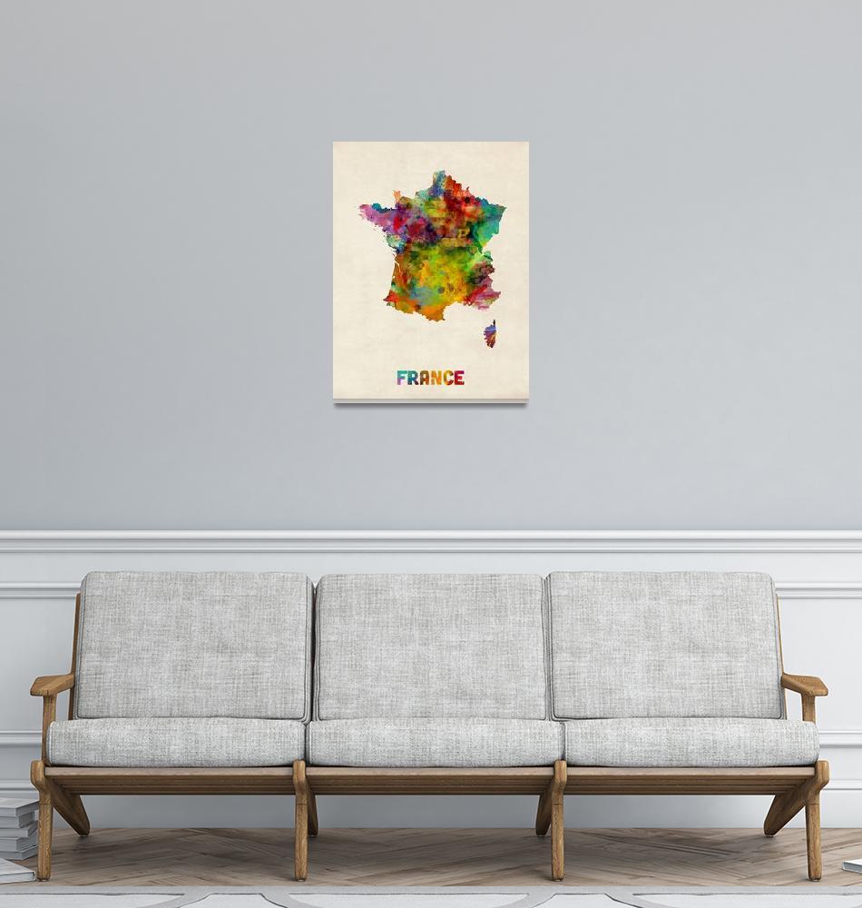 """France Watercolor Map""  (2013) by ModernArtPrints"