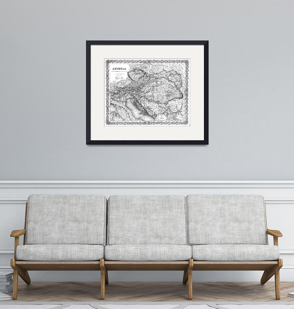 """""""Vintage Map of Austria (1856) BW""""  by Alleycatshirts"""