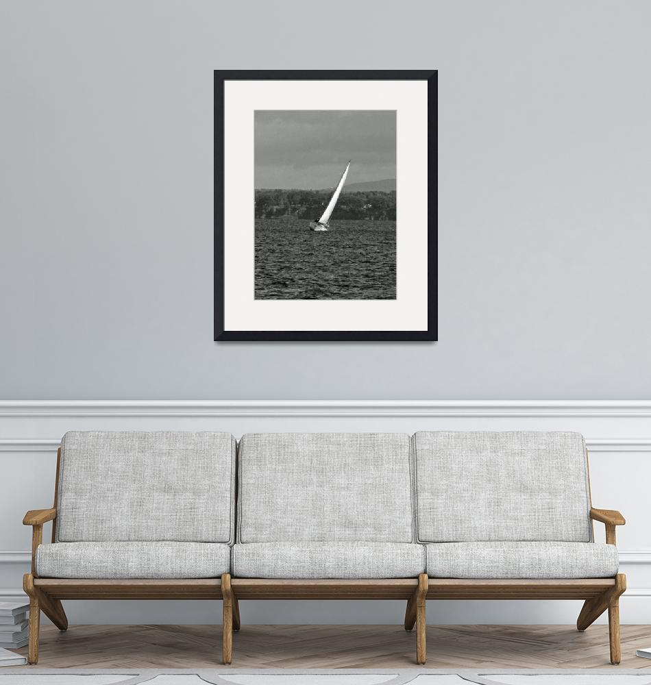 """""""Sailboat on the Tack B&W""""  by MarksClickArt"""