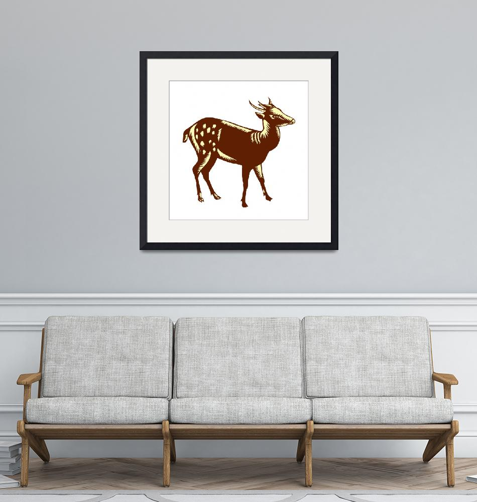 """""""Philippine Spotted Deer Woodcut""""  (2015) by patrimonio"""