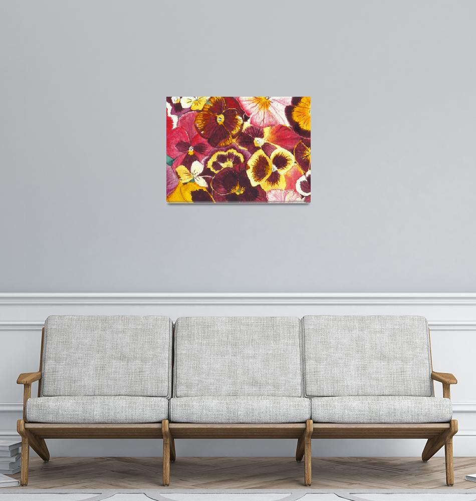 """""""Pansies Competing For Attention""""  (1996) by ShawnaRowe"""