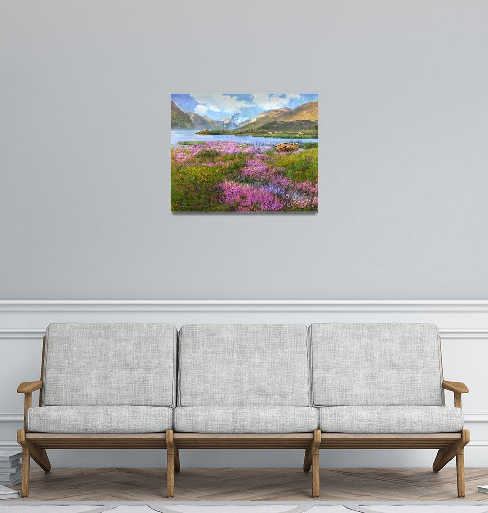 """heather and loch in scotland""  (2018) by rchristophervest"