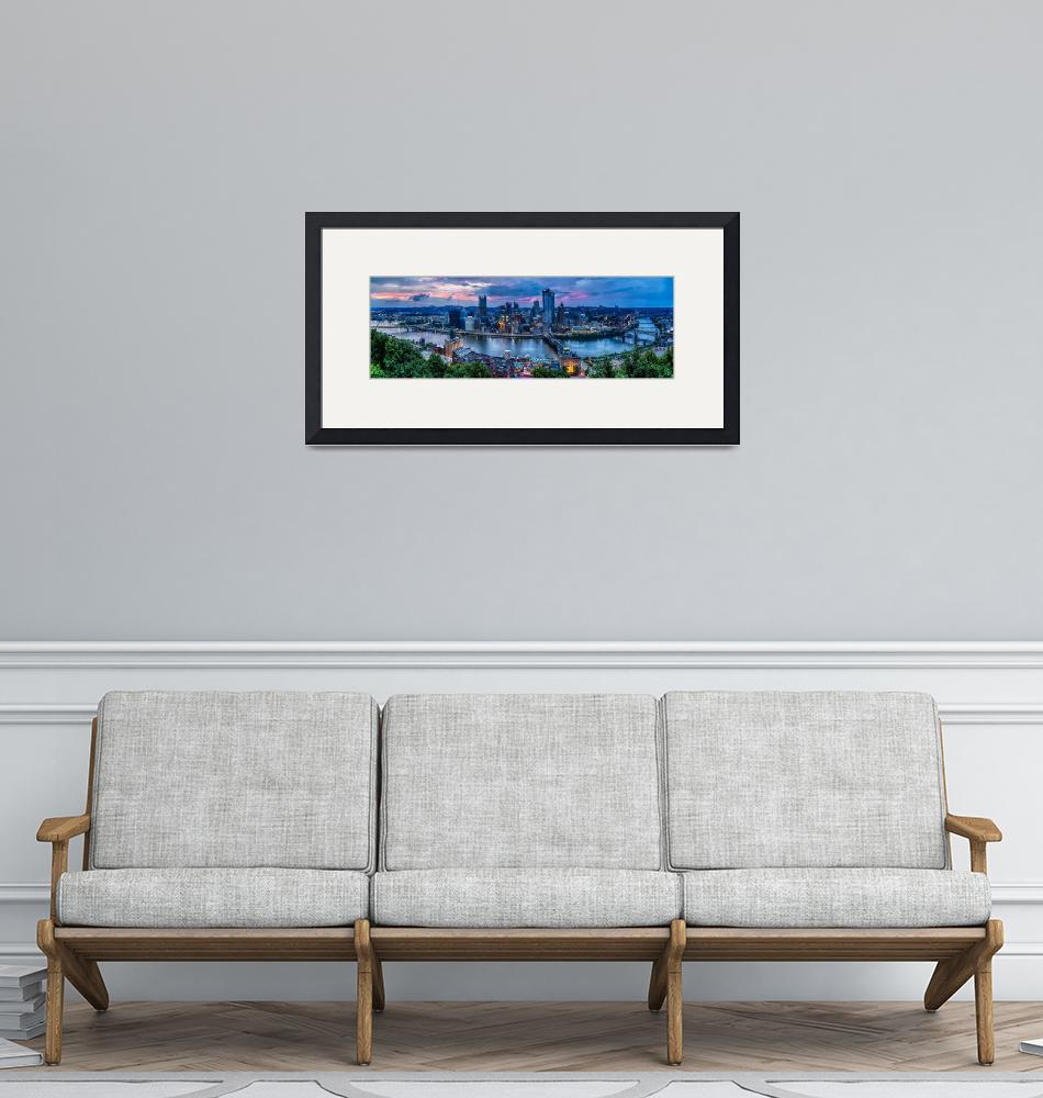 """""""Skyline Panorama of Pittsburgh viewed from Mount W""""  (2015) by George_Oze"""