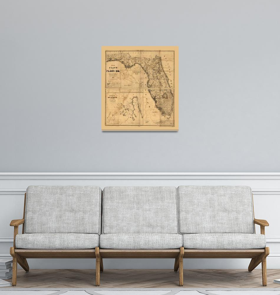 """""""The State of Florida Map (1846)""""  by ArtHistory"""