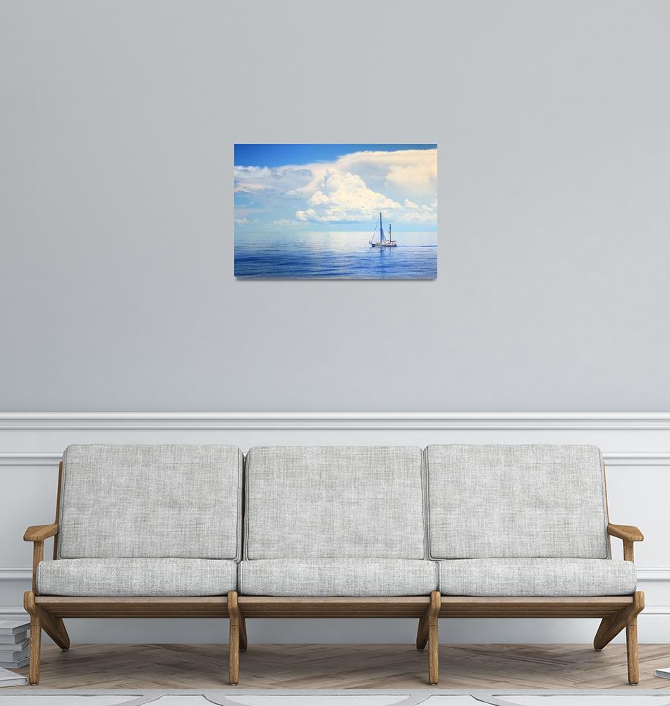 """Sailboat on a shinning Bahams Sea""  (2015) by RoupenBaker"