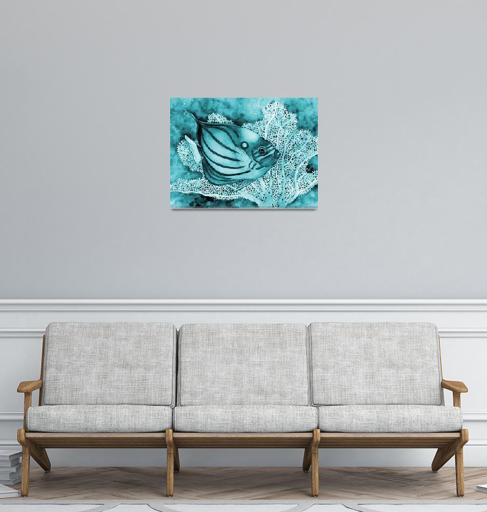 """Blue Ring Agelfish in Blue""  by HaileyWatermedia"