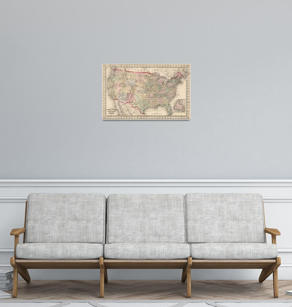 """""""Vintage United States Map (1874)""""  by Alleycatshirts"""