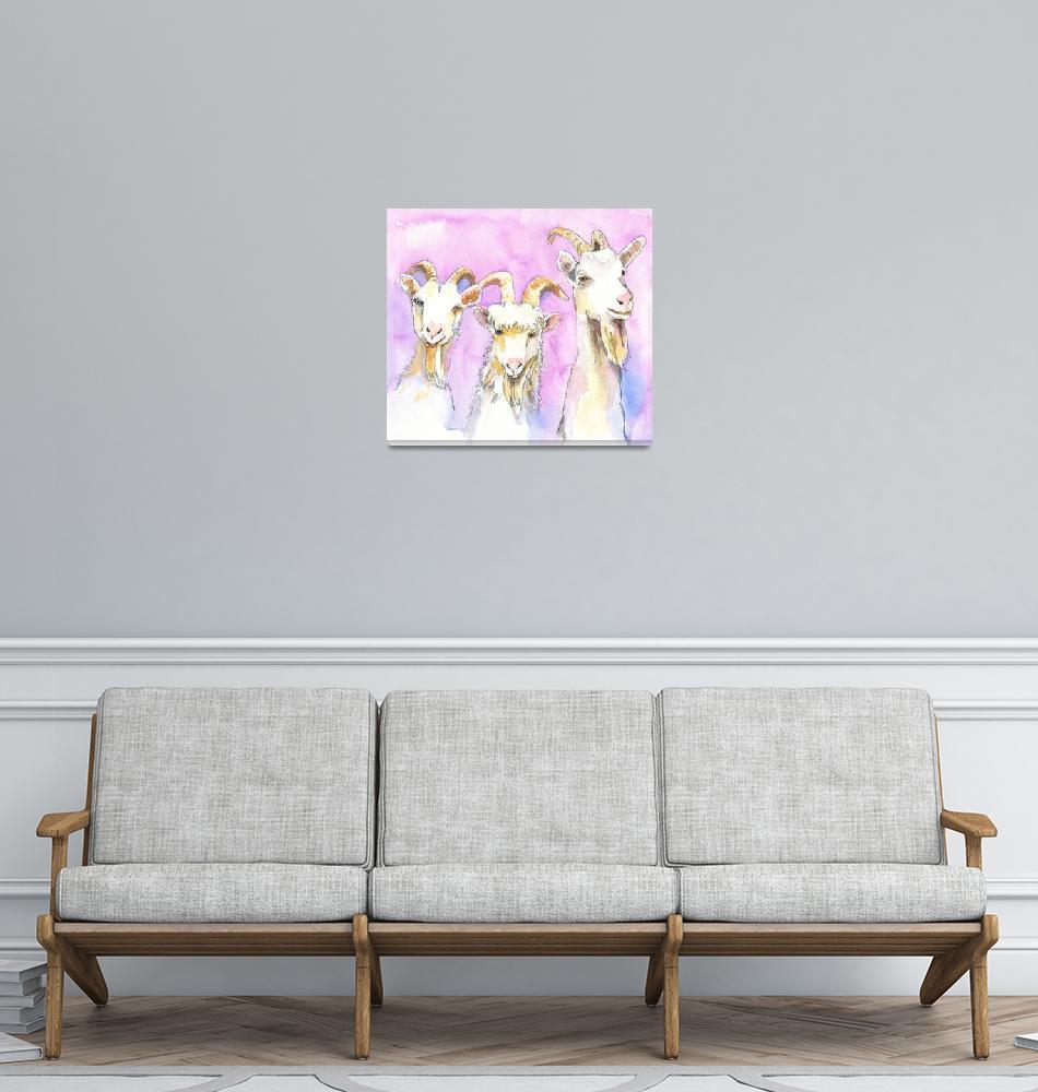 """3 Billy Goats Gruff, Goat Painting""  (2019) by schulmanart"