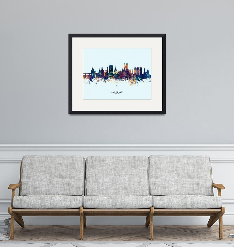 """Aberdeen Scotland Skyline""  (2019) by ModernArtPrints"