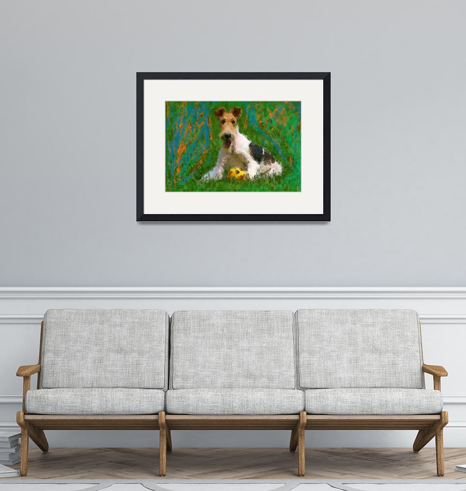 """""""Wired Fox Terrier with ball""""  (2011) by kring"""