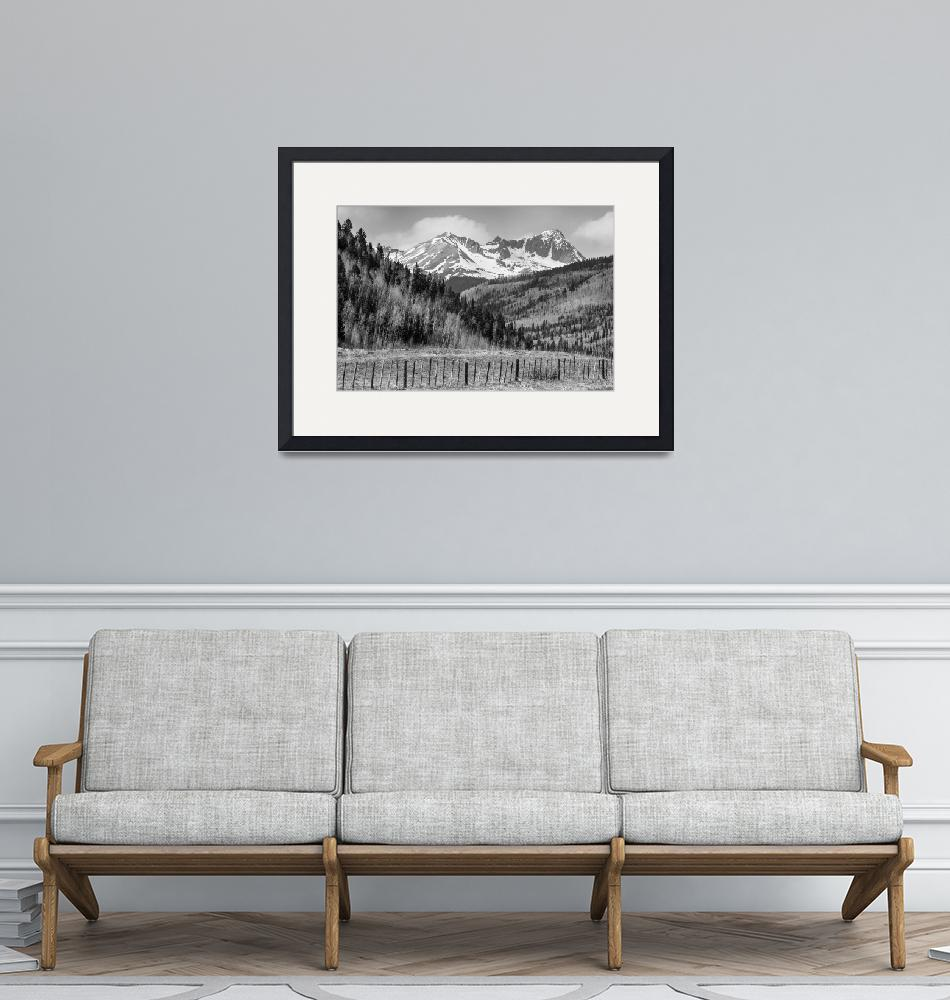"""""""Valley and Rocky Mountains in Black and White""""  (2015) by lightningman"""