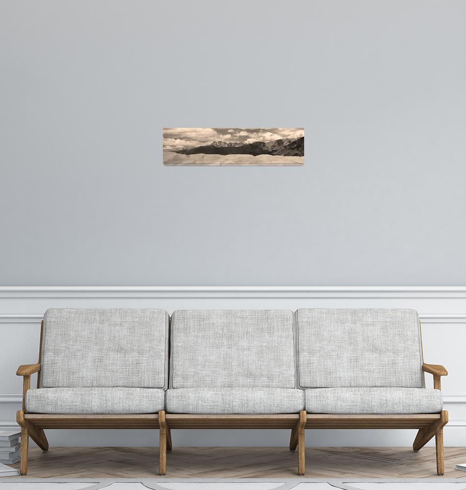 """Sand Dunes Panorama 1 Sepia Print""  (2010) by lightningman"