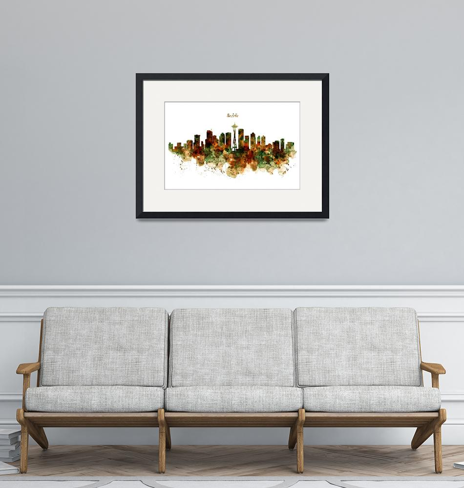 """""""Seattle Watercolor Skyline Poster"""" (2017) by MarianVoicu"""