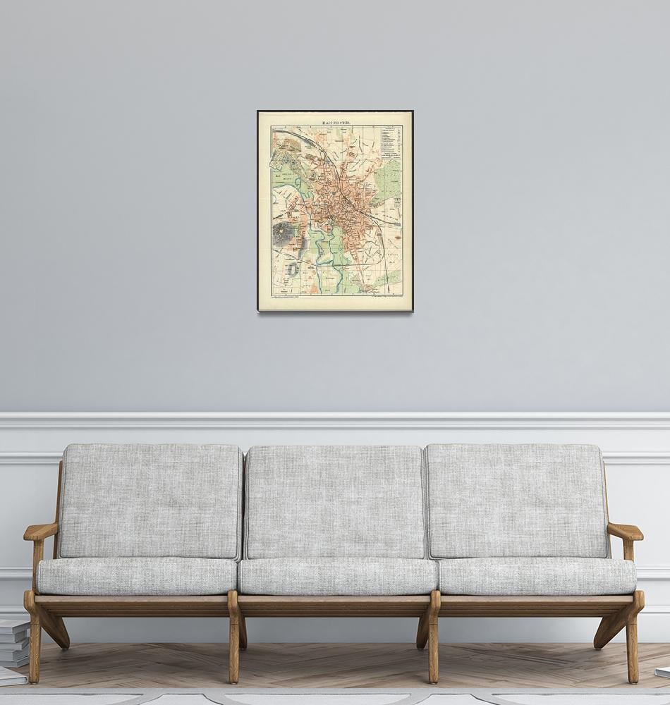 """""""Vintage Map of Hanover Germany (1895)""""  by Alleycatshirts"""