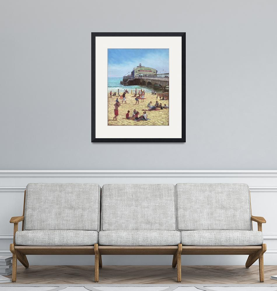 """""""people on Bournemouth beach :Pier theatre""""  (2011) by martindavey"""