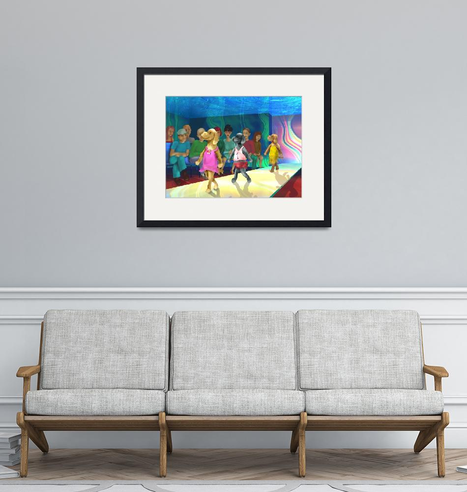 """teenager art,childrens room,blue,dogs,yellow""  (2001) by MarianneIlevitzky"