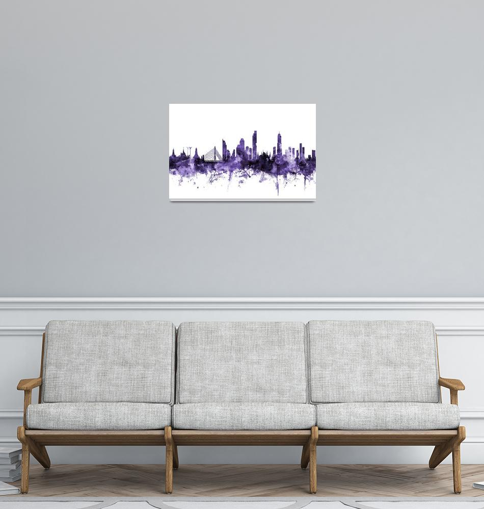 """Bangkok Thailand Skyline""  (2018) by ModernArtPrints"