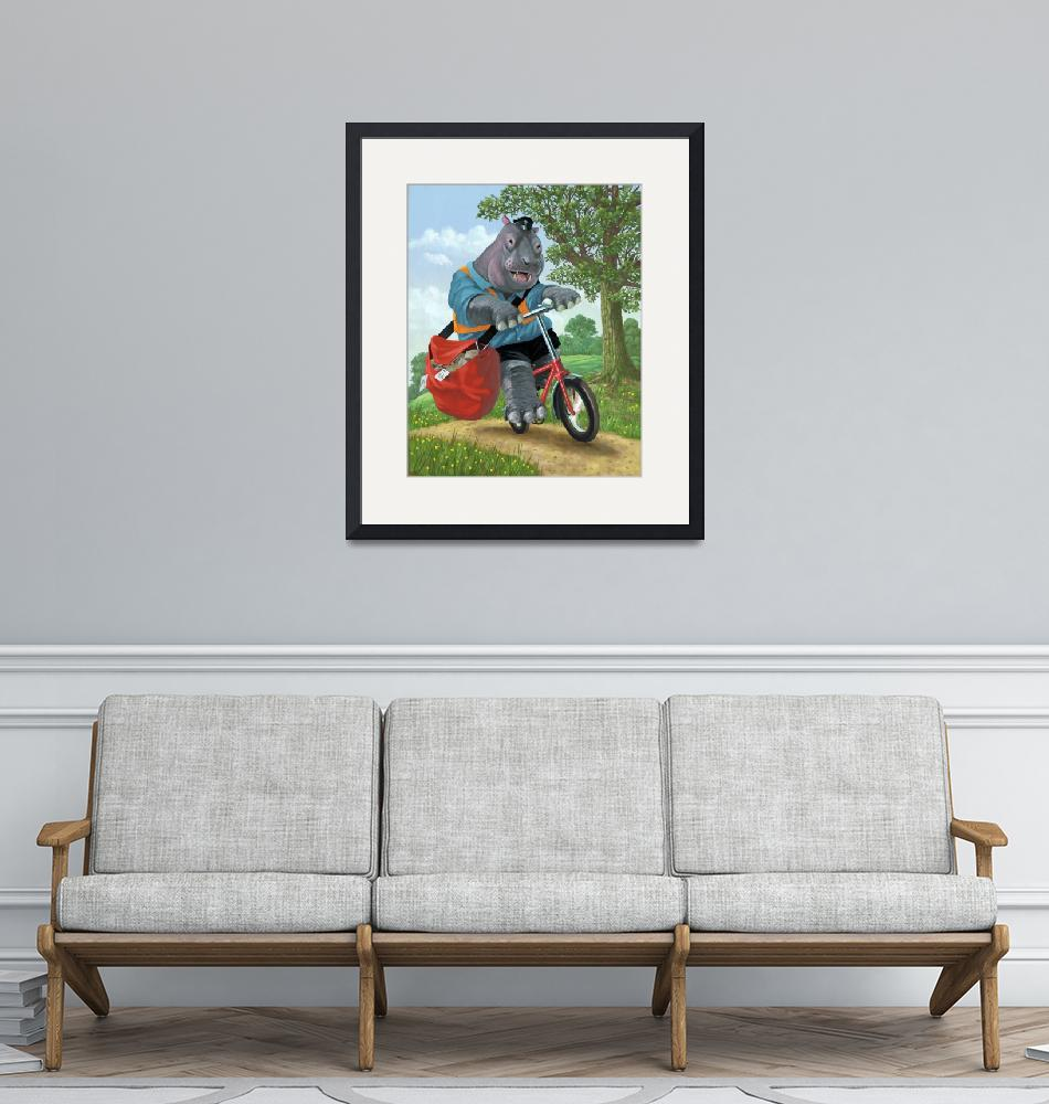 """hippo post man on cycle""  (2010) by martindavey"