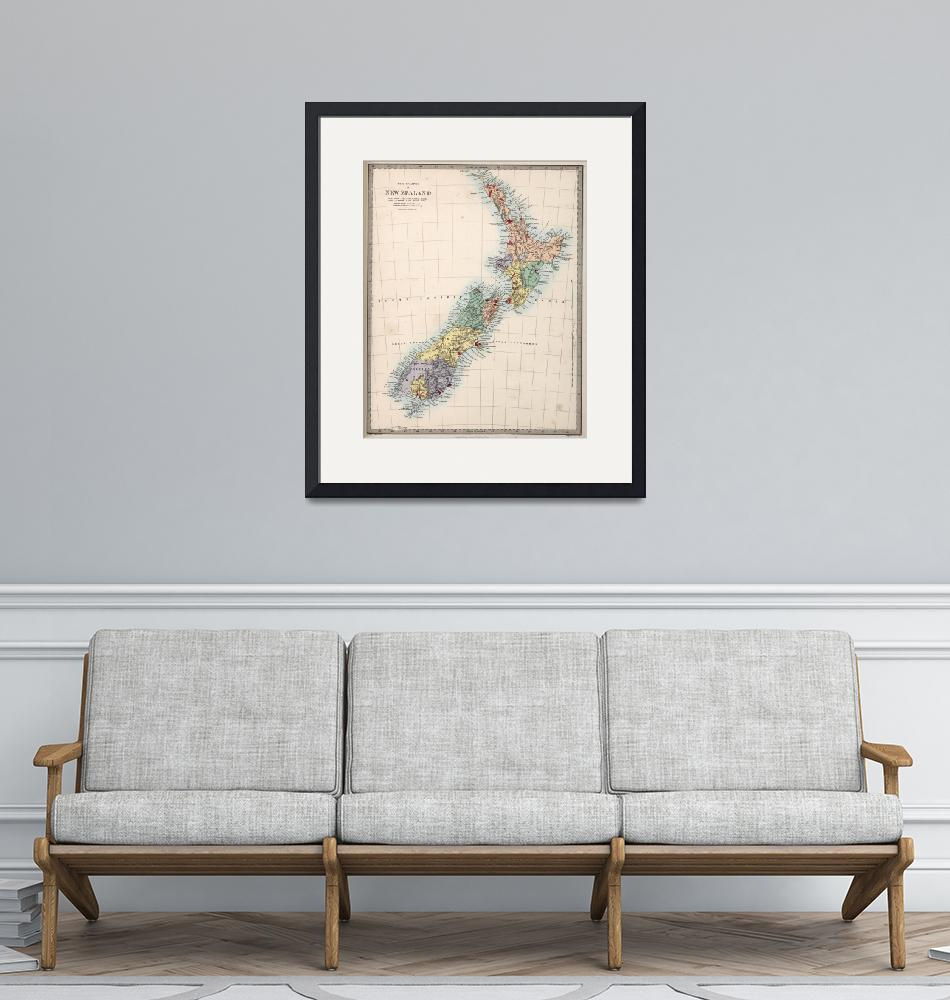 """Vintage Map of New Zealand (1865)""  by Alleycatshirts"