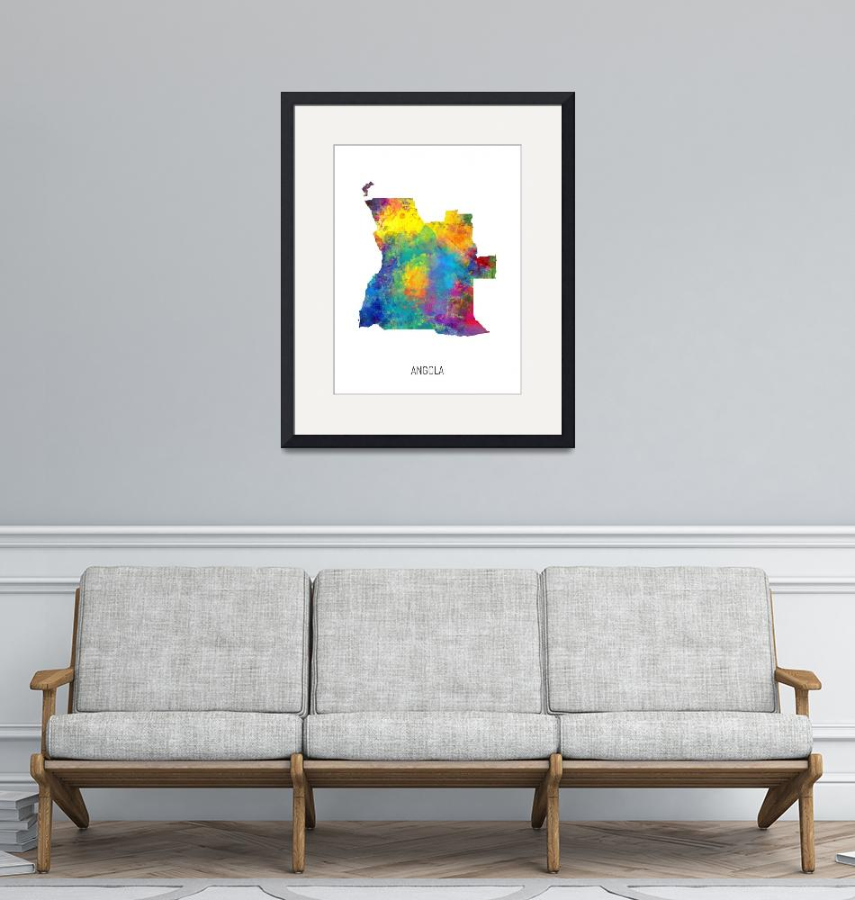 """Angola Watercolor Map""  (2019) by ModernArtPrints"