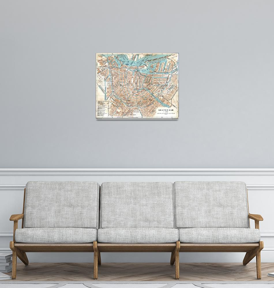 """""""Vintage Map of Amsterdam (1905)""""  by Alleycatshirts"""