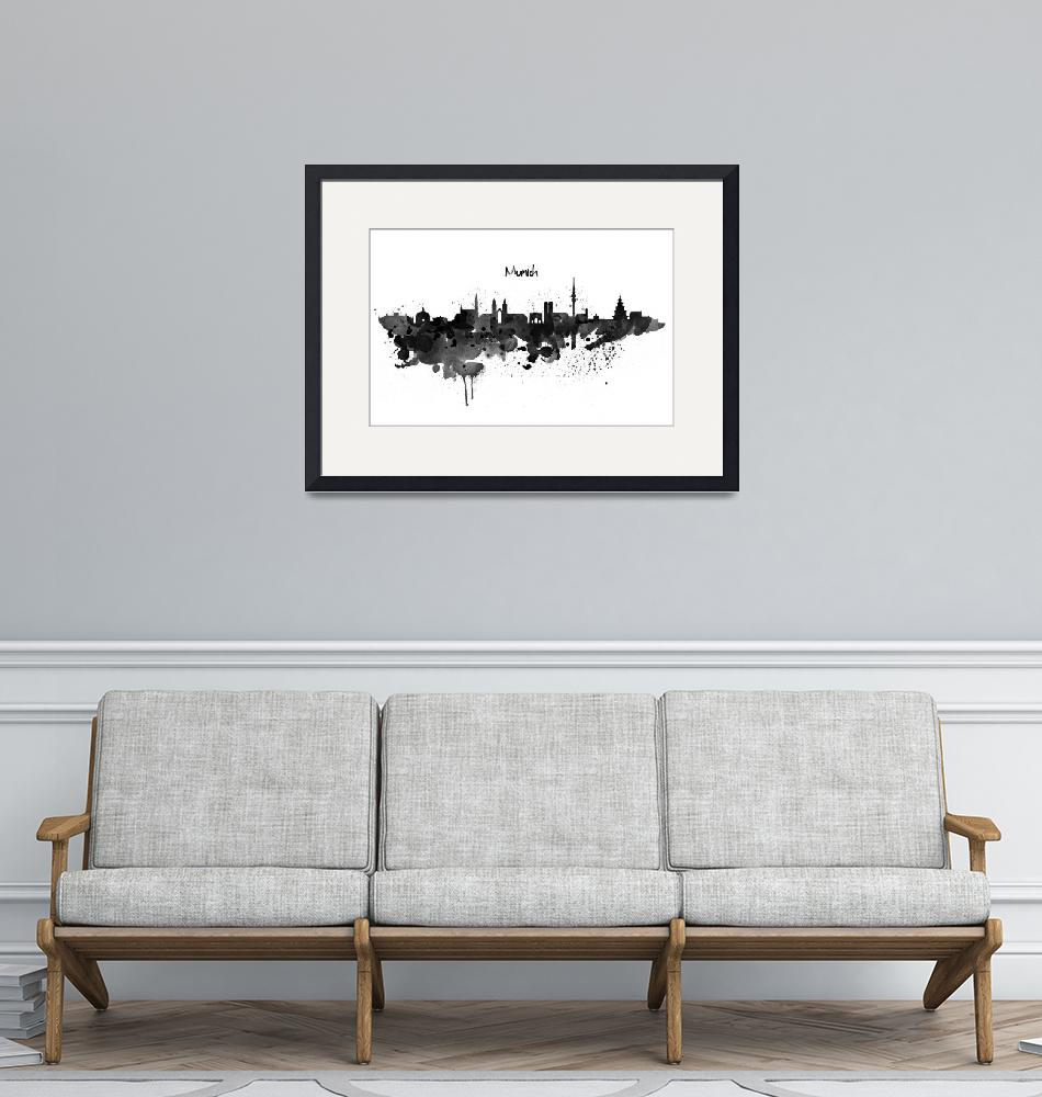 """""""Munich Skyline Silhouette Watercolor painting BW""""  (2019) by MarianVoicu"""