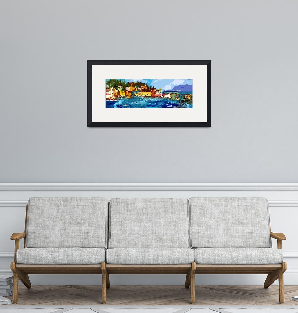"""Sestri Levante Italy Liguria Panoramic Abstract""  (2012) by GinetteCallaway"