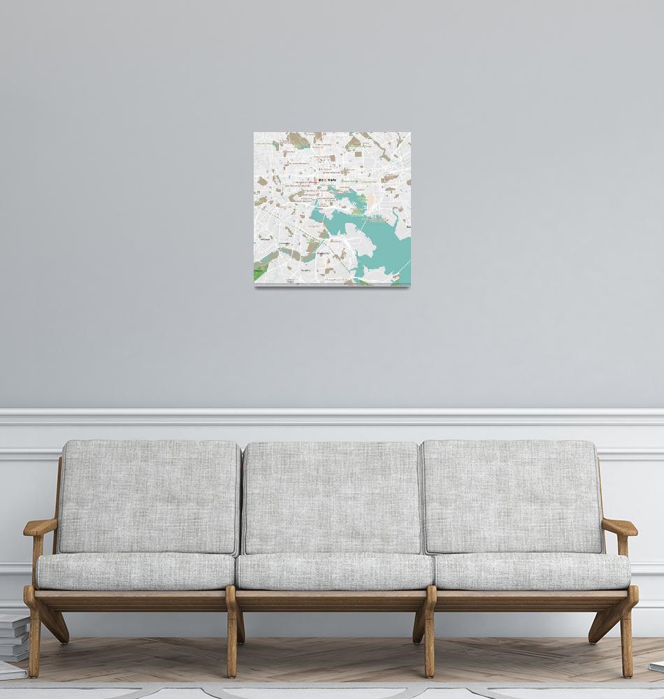 """Minimalist Modern Map of Baltimore, Maryland, USA""  by motionage"