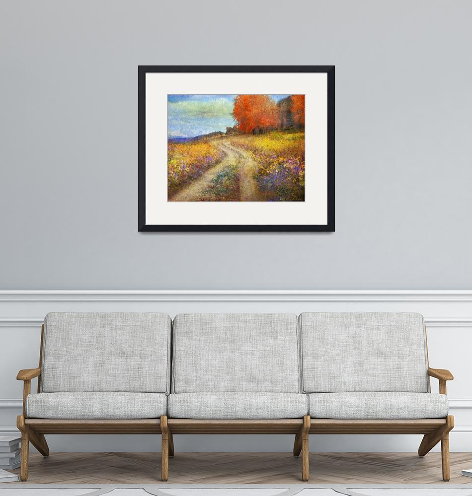 """""""road by the lake with flowers and fall colors""""  (2014) by rchristophervest"""