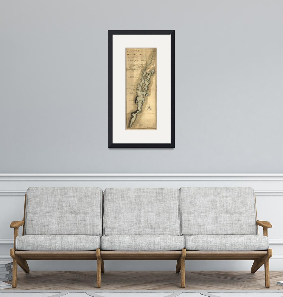 """""""Vintage Map of Lake Champlain (1865)"""" by Alleycatshirts"""