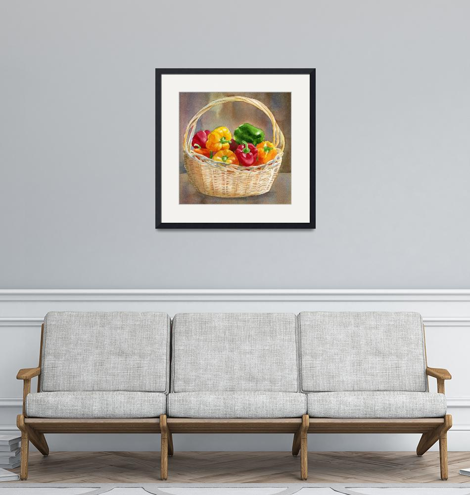 """Basket of Red, Yellow and Green Peppers 2""  (2011) by Pacific-NW-Watercolors"