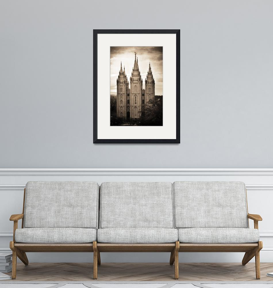 """""""salt lake temple texture cool sunset march sepia""""  by houstonryan"""