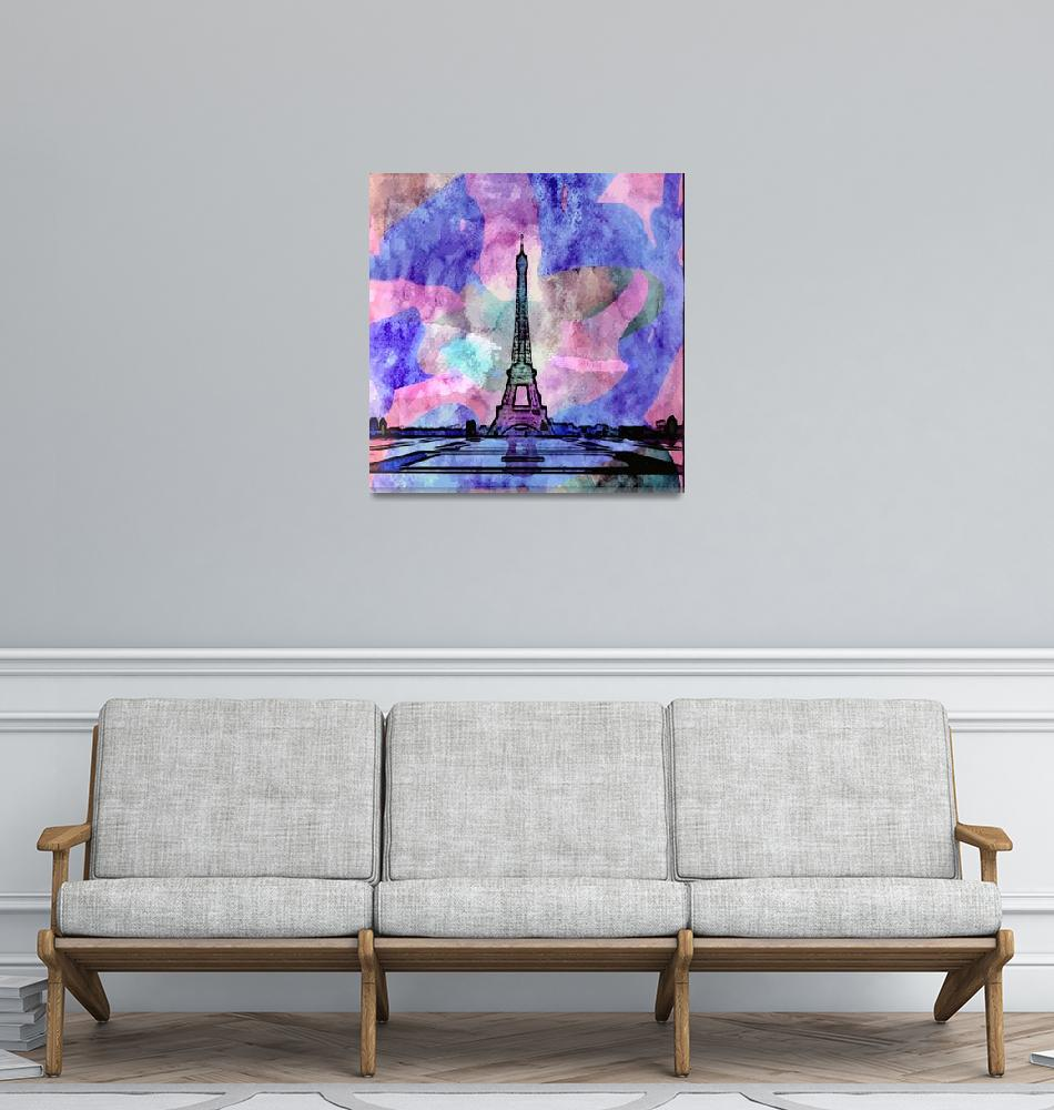 """Eiffel Tower Watercolor""  (2019) by chuckstewart"