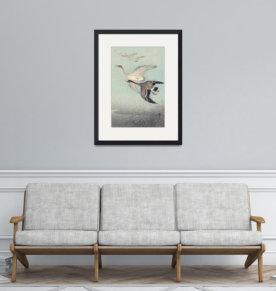 """""""Great Geese in Flight by Ohara Koson""""  by FineArtClassics"""