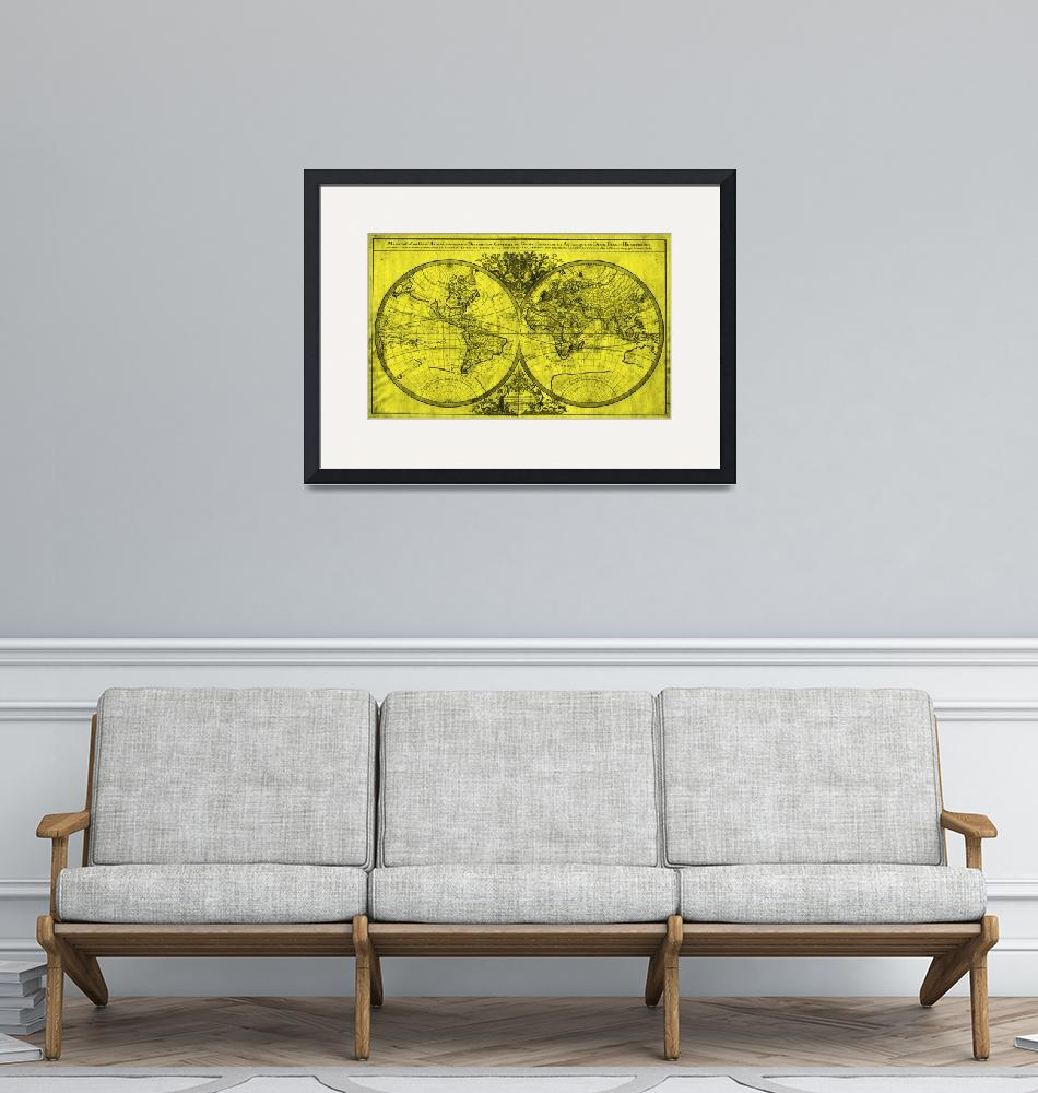 """""""World Map (1691) Yellow & Black"""" by Alleycatshirts"""