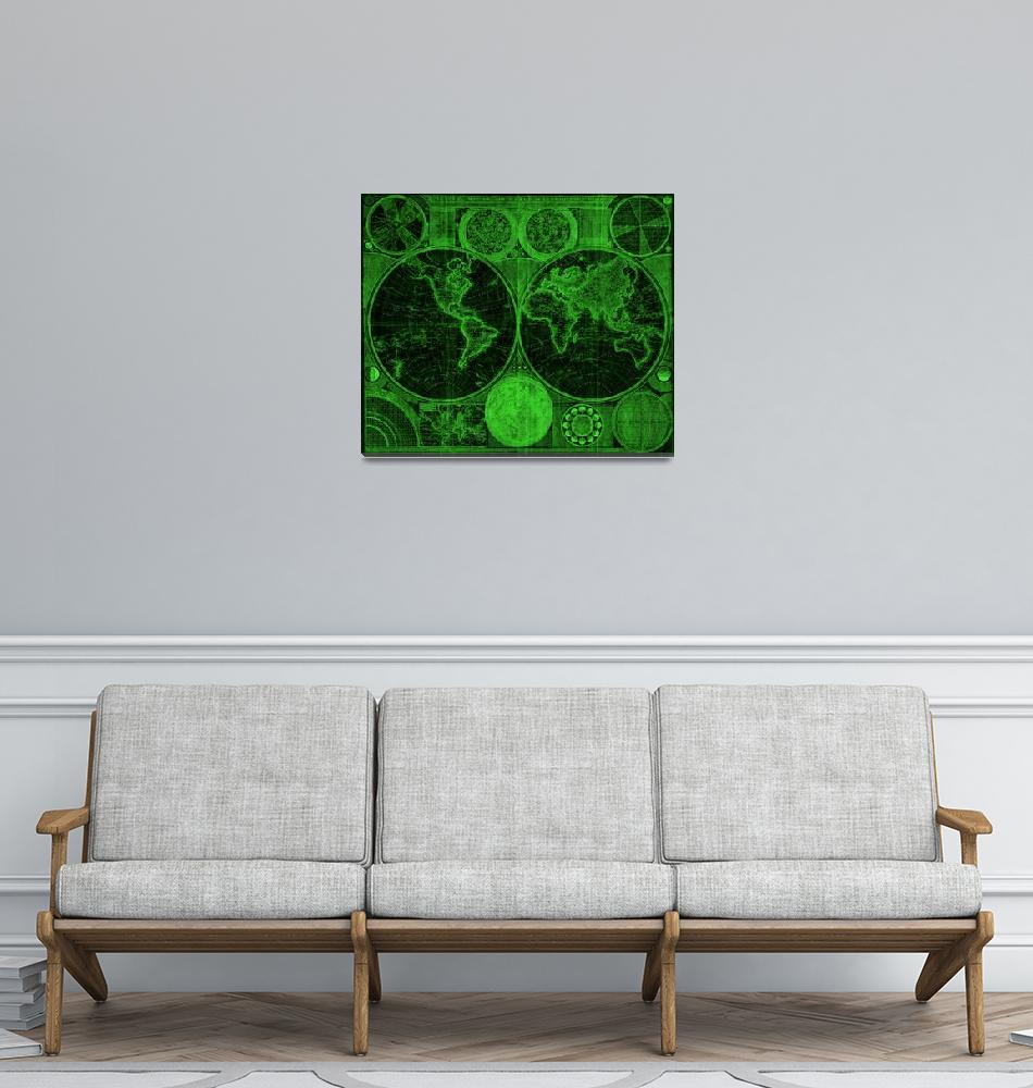 """""""World Map (1794) Black & Green"""" by Alleycatshirts"""